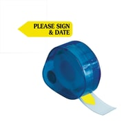 "Redi-Tag® Yellow ""Please Sign & Date"" Flags with Dispenser, Each"