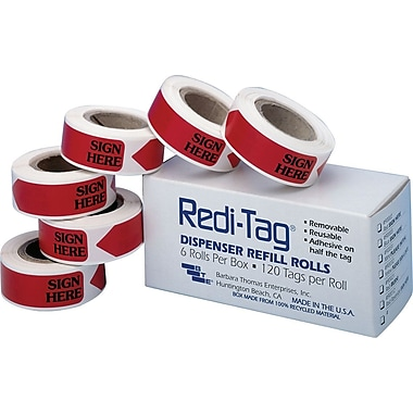 Redi-Tag® Red in.Sign Herein. Flag Refill Rolls, 6 Rolls