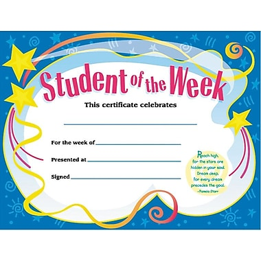 Award Certificates, Student of the Week
