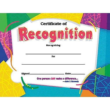 Award Certificates, Certificate of Recognition