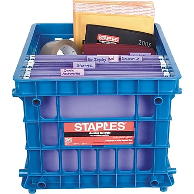Staples® File Storage Crates, Blue