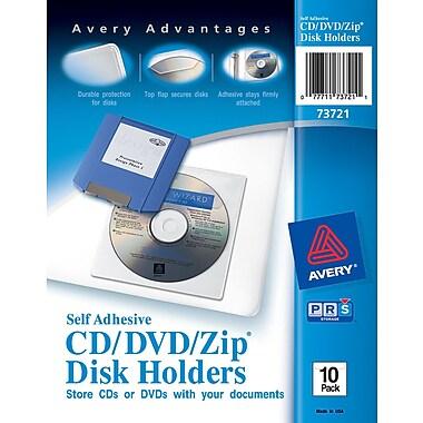 Avery® Self-Adhesive CD/DVD/Zip Disk Holders 10/Pack (73721)