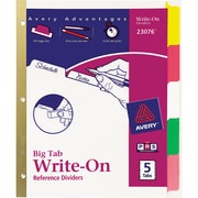 Avery® Write-On™ BIG TAB Dividers, 5-Tab Set, Color Tabs