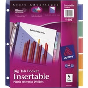 Avery® Slash Pocket Insertable Tab Dividers, 5-Tab