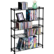 Atlantic 5 Tier Adjustable Multimedia Storage, Black Steel