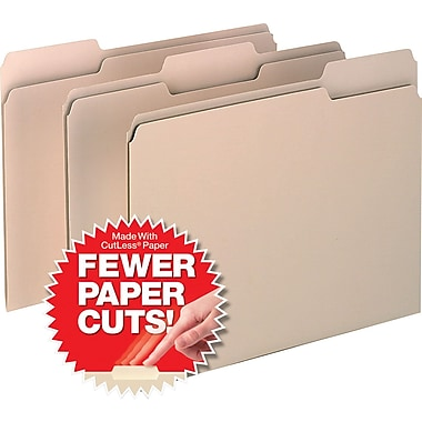 Pendaflex® CutLess® File Folders, Letter, 3 Tab, Manila, 100/Box