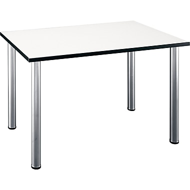 Bush Business Aspen 48W x 28-1/2D Rectangle Table, White Spectrum