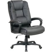 Office Star™ Leather Executive High-Back Chair, Charcoal