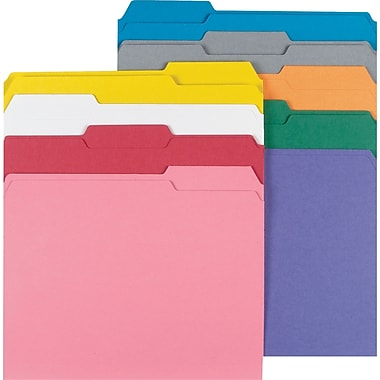 Staples® Colored File Folders w/ Reinforced Tabs, Letter, 3 Tab, Assortment A, 250/Box