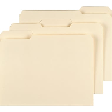 Staples® Top Tab File Folders with Reinforced Tabs, Legal, 3 Tab, 100/Box