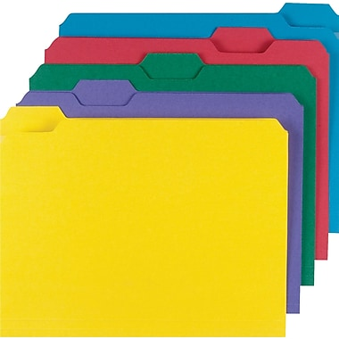 Staples® Colored File Folders w/ Reinforced Tabs, Letter, 5 Tab, Assortment B, 100/Box