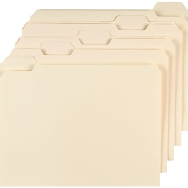 Staples® Manila File Folders w/ Reinforced Tabs, Letter, 5 Tab, 100/Box