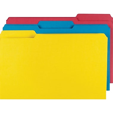 Staples Colored File Folders w/ Reinforced Tabs, Legal, 3 Tab, Assortment B, 100/Box
