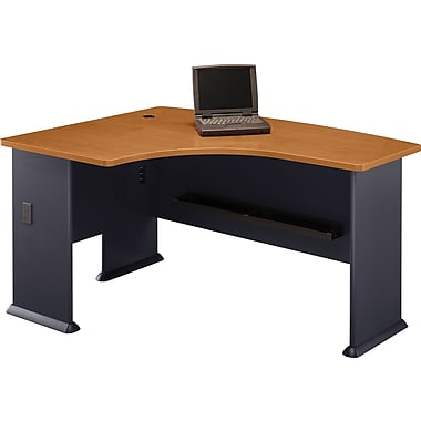 Bush Cubix Left L-Bow Desk, Natural Cherry/Slate Gray, Fully assembled