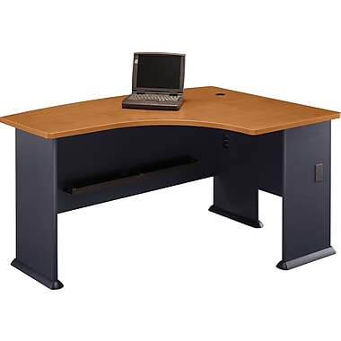 Bush Cubix Right L-Bow Desk, Natural Cherry/Slate Gray
