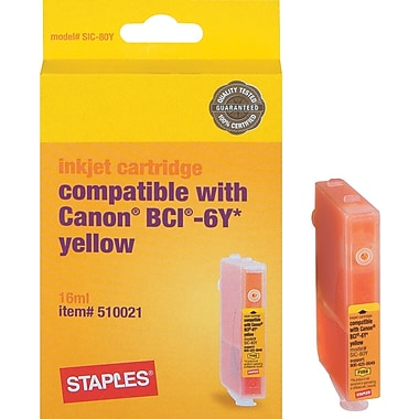 Staples Remanufactured Ink Cartridge Compatible With Canon BCI-6Y, Yellow