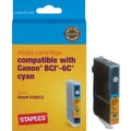 Staples Remanufactured Ink Cartridge Compatible with Canon BCI-6CY, Cyan