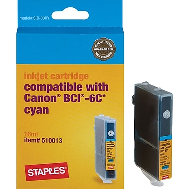 Staples® Remanufactured Ink Cartridge Compatible with Canon® BCI-6CY, Cyan