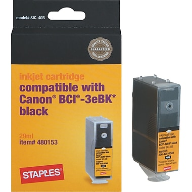 Staples Remanufactured Black Inkjet Cartridge Compatible with Canon® BCI-3eBK