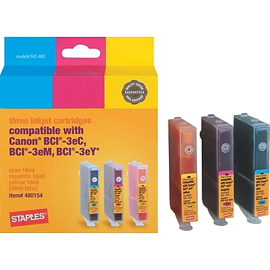 Staples Color Ink Cartridges Compatible with Canon® BCI-3e, 3/Pack
