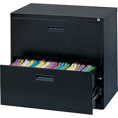 MBI 400S Series Lateral File Cabinet, 30in. Wide, 2-Drawer, Black
