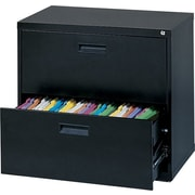 MBI 400S Series Lateral File Cabinet, 30 Wide, 2-Drawer, Black