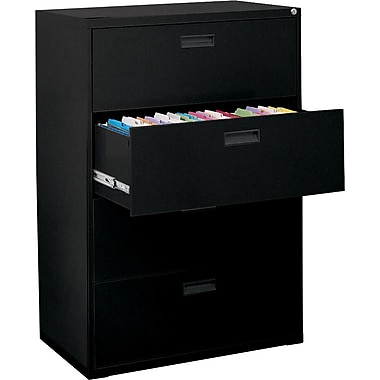 MBI 400S Series Lateral File Cabinet, 30in. Wide, 4-Drawer, Black