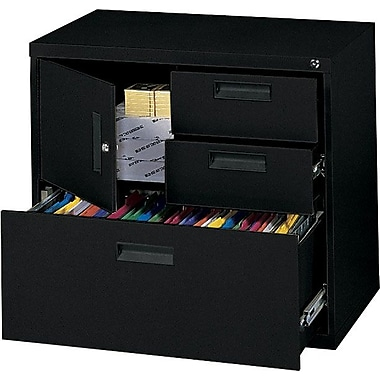 MBI® 4-in-1 3-Drawer Lateral File Cabinet, Black, Letter/Legal (M8000LBLK)