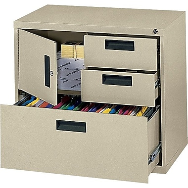 MBI 4-in-1 Lateral/Storage File Cabinet, 30in.Wide, 3-Drawer, Putty