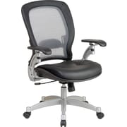 SPACE® Air Grid™ Executive Mid-Back Chair with Leather Seat, Black