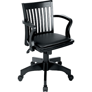 Office Star Padded Vinyl Wood Banker's Chair, Fixed Arm, Black