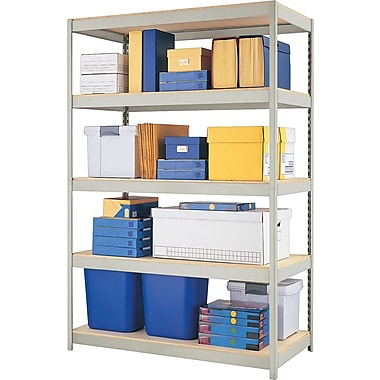 Hirsh Boltless Steel Shelving, 5 Shelves, Gray, 72in.H x 48in.W x 24in.D