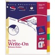 Avery® Write-On™ BIG TAB Dividers, 8-Tab Set, Color Tabs, 4/Pack