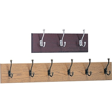 Safco 3 and 6 Hook Wooden Wall Racks