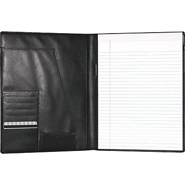 Buxton® Leather Writing Padfolio, Black