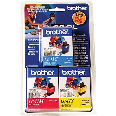 Brother LC41CL Color Ink Cartridges, 3/Pack