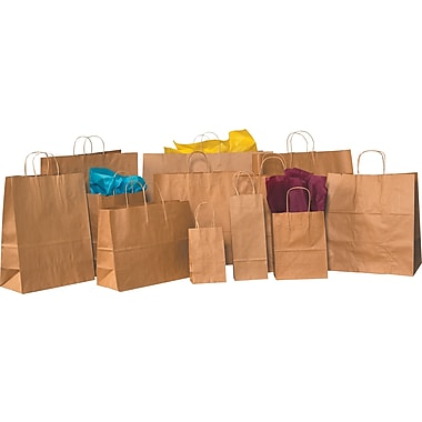 Staples® Kraft Paper Shopping Bags, 16in. x 6in. x 19 1/4in.