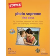 "Staples® Photo Supreme Paper, 8 1/2"" x 11"", High Gloss, 25/Pack"