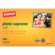Staples® Photo Supreme Paper, 4 x 6, Satin, 100/Pack
