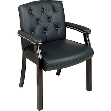 Office Star Traditional Black Leather Guest Chair with Mahogany Wood Finish