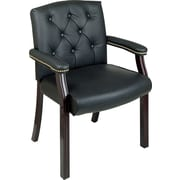 Office Star™ Traditional Black Leather Guest Chair with Mahogany Wood Finish