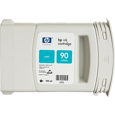 HP 90 Cyan Ink Cartridge (C5060A), 225ml