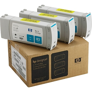 HP 83 Cyan Ink Cartridges (C5073A), 3/Pack