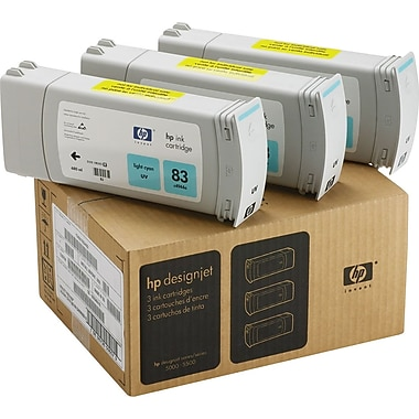 HP 83 Light Cyan Ink Cartridges (C5076A), 3/Pack
