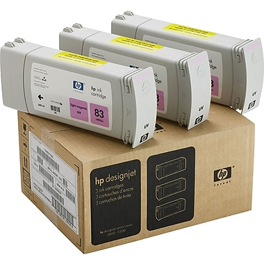 HP 83 Light Magenta Ink Cartridges (C5077A), 3/Pack