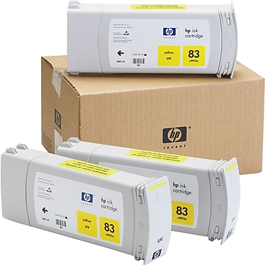 HP 83 Yellow Ink Cartridges (C5075A), 3/Pack