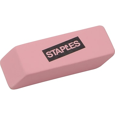 Staples® Pink Wedge Erasers, 3/Pack
