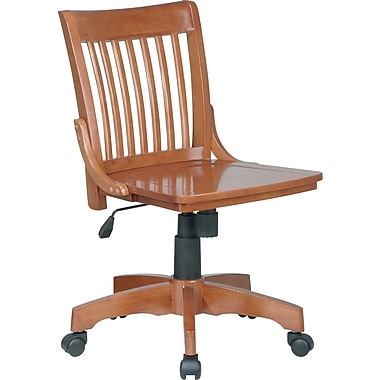 Office Star Armless Wood Banker's Chair, Medium Fruitwood