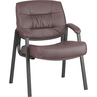 Office Star Deluxe Leather Guest Chair, Burgundy