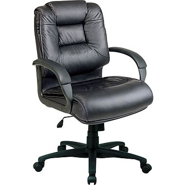 Office Star Leather Executive Mid-Back Chair, Black